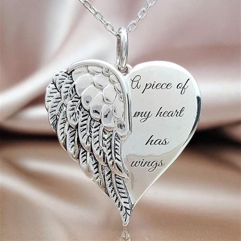 It is hard to build a life around the missing pieces of the heart. This lovely angel wing heart necklace will be a constant reminder of the unsevered bond you share with your loved one. In it, you will find comfort in knowing that someone so special will never be forgotten. The saying on the sterling silver angel heart
