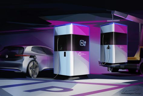 Power Bank For Electric Cars The Mobile Quick Charging Stati Mobile Charging Station Mobile Charging Volkswagen
