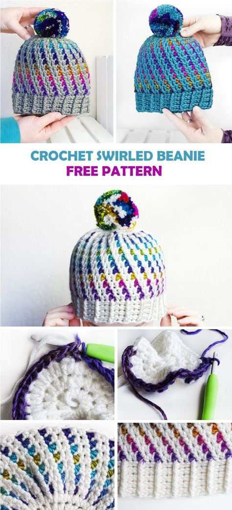 SWIRLED BEANIE - FREE CROCHET PATTERN - knitting is as easy as 3 Knitting boils down to three essential skills. These are the cast, the knit stitch and the cast. These three techniques form the backbone of knitting. Bonnet Crochet, Crochet Motifs, Crochet Stitches, Crochet Hooks, Free Crochet, Knit Crochet, Crotchet, Crochet Baby Mittens, Crochet Winter Hats