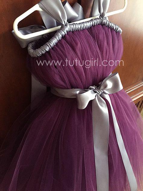 de7f848f706 Eggplant and Gray Flower Girl Tutu Dress