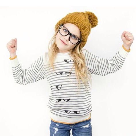 Kid+Kind lightweight 'side eyes' sweater