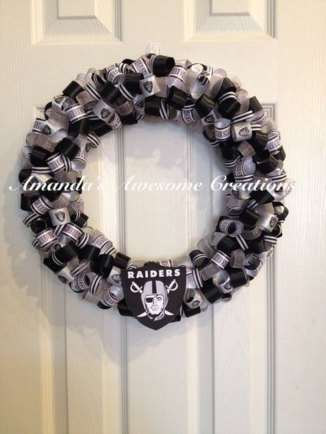 Raiders Football Wreath by AmandasCreations11 on Etsy, $35.00