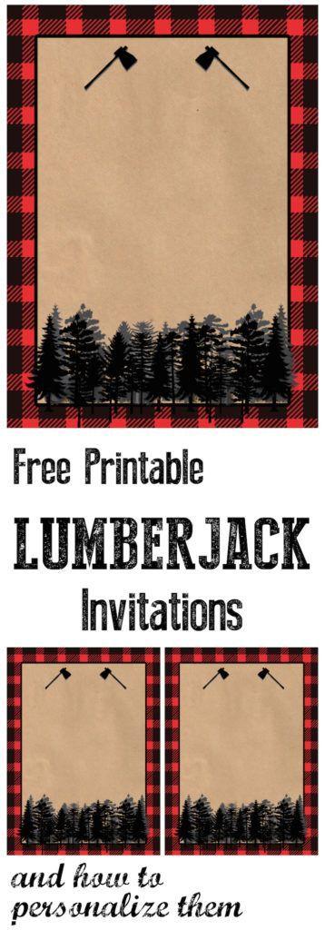Lumberjack Invitation Free Printable Paper Trail Design Birthday Party Invitations Free Lumberjack Birthday Party Lumberjack Invitation