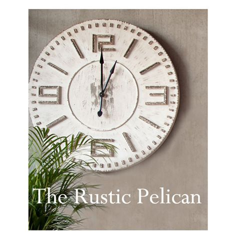 huge clock 42 rustic wall clock wooden wall clock vintage wall 310 liked on polyvore featuring home home decor and clocks gift ideas
