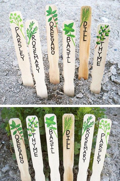 HAND PAINTED HERB MARKERS ♥These wood herb signs, or plant markers, will add charm and character to your garden or potted plants! They make a