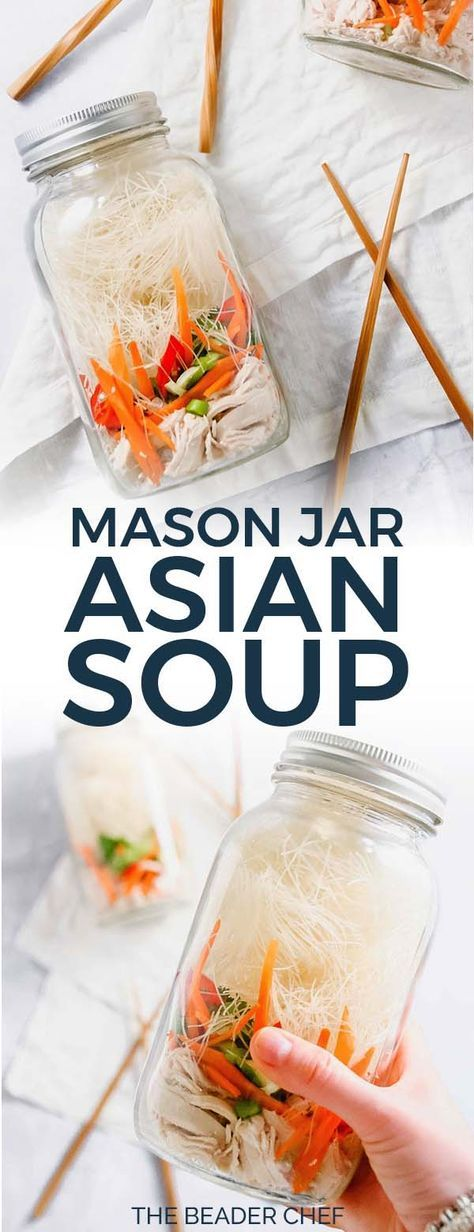 Mason Jar Asian Soups are the perfect packed lunch! Easy to put together, customizable with your favourite ingredients and much healthier than store bought noodle bowls! You'll be owning lunch time with these! #betterhomemade #masonjarsoup #masonjar #soup #asiansoup #asian #asiannoodles #lunch - thebeaderchef.com