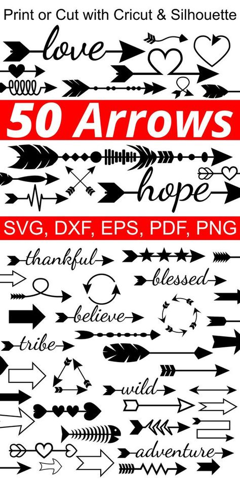 50 Arrow SVG File Arrow Clipart SVG Arrow Clip Art Arrows | Etsy