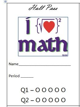 Math Hall Pass | TpT: CharpasaTack | Bathroom pass, Math