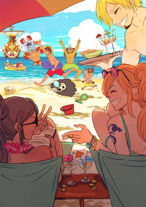 Straw Hat Crew Mugiwara Luffy Zoro Nami Usopp Sanji Chopper Robin Franky Brook beach funny water swimsuits Thousand Sunny; One Piece - One Piece Swimsuits - Ideas of One Piece Swimsuits One Piece Manga, Sanji One Piece, One Piece Fanart, One Piece Chopper, Manga Anime, Film Manga, One Piece Images, One Piece Pictures, Filles Equestria