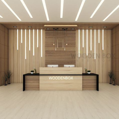 Best office reception desk at cheap price from WoodenBox. High quality reception desks are manufactured and supplied over Dubai, UAE Office Reception Design, Modern Reception Desk, Showroom Interior Design, Medical Office Design, Office Interiors, Interior Office, Office Furniture Design, Lobby Design, Home Room Design