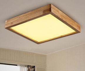 Modern Minimalist Wooden Ceiling Light Square Ceiling Mounted