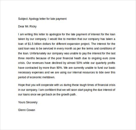 sample apology letter for being late free documents download - sample apology letter for being late