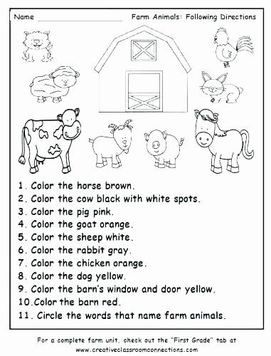 Printable Following Directions Worksheet Sea Animals Worksheets For Preschoolers Coloring In 2020 Free Math Worksheets Animal Worksheets Kindergarten Fall Worksheets