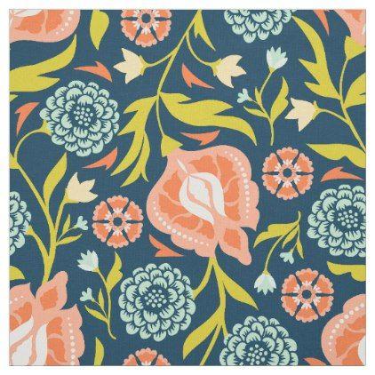 Modern Navy Blue And Peach Floral Pattern Fabric Craft Supplies Diy Custom Design Supply Special Floral Fabric Pattern Floral Fabric Fabric Patterns