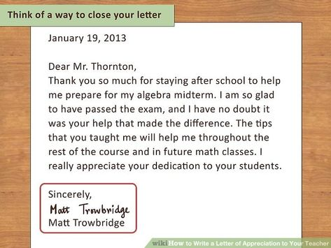 letter to teacher from parent