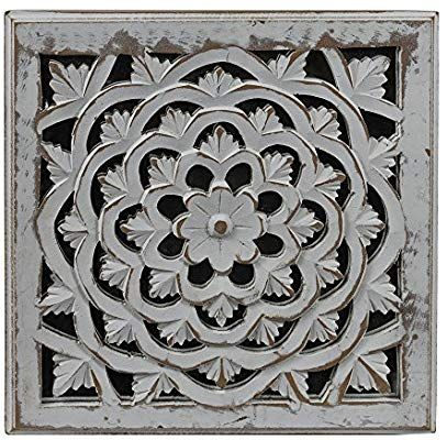 Amazon Com Indian Heritage Wooden Wall Panel Mdf Mirror With Carved Panel Design In White Distress Finish Set Wooden Wall Panels Wall Paneling Wooden Walls