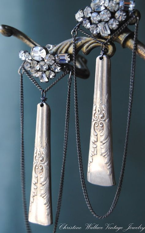 upcycled silverware jewelry with rhinestones