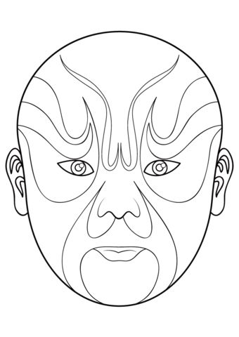 Chinese Opera Mask 5 coloring page from Masks category. Select from 20946 printable crafts of cartoons, nature, animals, Bible and many more.