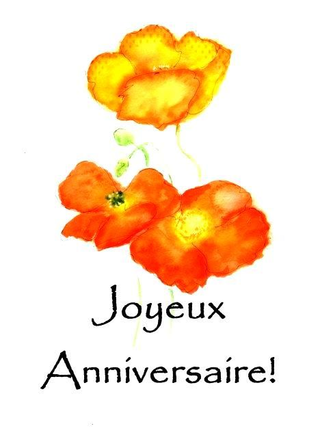 Birthday Greeting Iceland Poppies French Card Ad Iceland Poppies Birthday Card French Greeting French Greetings Birthday Cards Spanish Greeting Cards