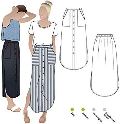 Indigo Maxi Skirt Sewing Pattern By Style Arc - Maxi skirt with elastic waist, faux button opening and patch pockets. Indigo Maxi Skirt Sewing Pattern By Style Arc - Maxi skirt with elastic waist, faux button opening and patch pockets. Skirt Patterns Sewing, Sewing Patterns Free, Skirt Sewing, Pattern Sewing, Pattern Skirt, Clothing Patterns, Maxi Dress Patterns, Maxi Dress Sewing Pattern, Simple Skirt Pattern