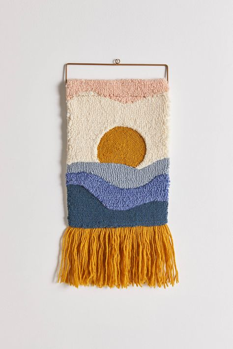 Shop Leo Horizon Tufted Wall Hanging at Urban Outfitters today. Weaving Wall Hanging, Tapestry Wall Hanging, Diy Crochet Wall Hanging, Macrame Wall Hangings, Crochet Wall Art, Bead Loom Patterns, Weaving Patterns, Weaving Designs, Spinning Wool