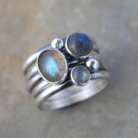 Set of 5 Rings - Labradorite & Sterling Silver - Oval Round Labradorite Gemstones - Five Stacking Rings,