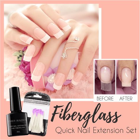Stillhaving manicureat expensivenail salon? It's time to get rid of easy-to-breakhardacrylicnail extension!Fiberglass Quick Nail Extension Setis a n innovative way for making you the mostnatural-look, light andflexiblenail art! Fiberglassis a brand newtech that can change its formin just 1 minute,fromu