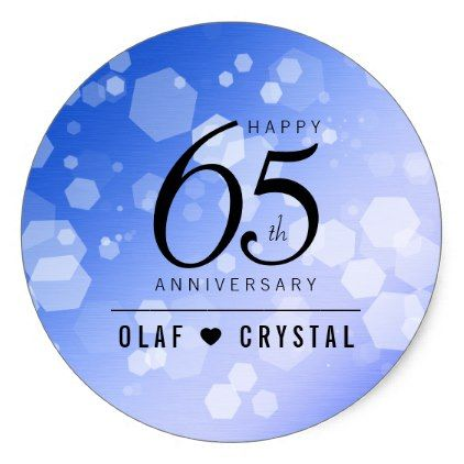 Elegant 65th Blue Sapphire Wedding Anniversary Classic Round Sticker Blue Gifts Style Giftidea Diy Cyo Sapphire Wedding Wedding Stickers Wedding Anniversary