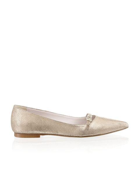 Lazzarini Veloursleder-Ballerina - gold - Gratis Versand | Schuhe | Ballerinas | Online Shop | 1121308311