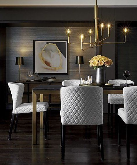 Pair A Rich Black Marble Top With A Brass Bottom For A Dining