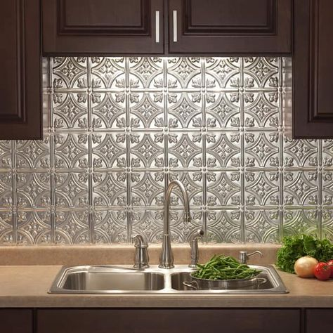 Shop Fasade Traditional Style #1 Brushed Aluminum 18-inch x 24-inch Backsplash Panel - Free Shipping On Orders Over $45 - Overstock - 10336122