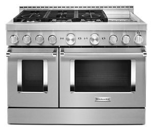 Kitchenaid 48 Smart Commercial Style Gas Range With Griddle In 2020 Freestanding Double Oven Double Oven Convection Range