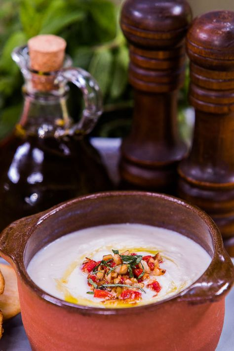 @cristinacooks makes a Cauliflower Soup w/ Almond and Roasted Pepper Relish on #homeandfamilytv! Tune in weekdays at 10/9c on Hallmark!