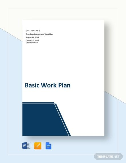 Free Basic Work Plan Template In 2020 Marketing Plan Template How To Plan Work Plans