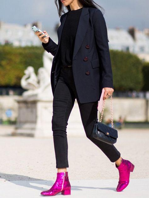Navy blazer + black denim and pink booties