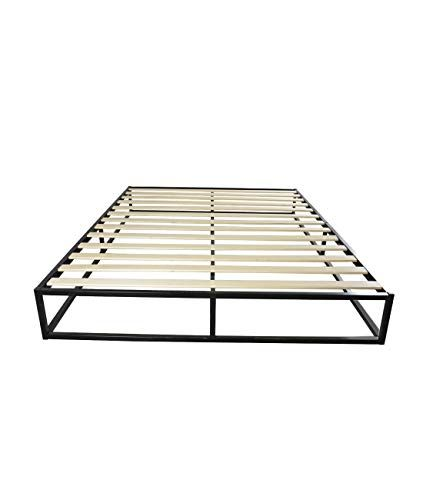 Koongso Queen 10 Inch Steel Platform Bed Frame Wood Slat Easy Assembly Heavy Duty Anti Slip Mattress Foundation No Wood Bed Frame Platform Bed Frame Wood Slats