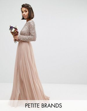 a848ddb317b ASOS Bridesmaid Dress - Maya - Petite Perfect for a Winter Wedding! Maya  Petite Long Sleeved Maxi Dress with Delicate Sequin and Tulle Skirt