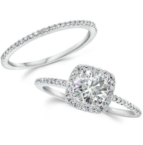 Diamant-Verlobungsring Kissen Halo Set Solid 14 KT von Pompeii3