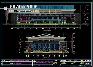 خربشات مهندس مخطط مشروع ملعب كرة قدم الصالات اوتوكاد Dwg Autocad Architect Koi