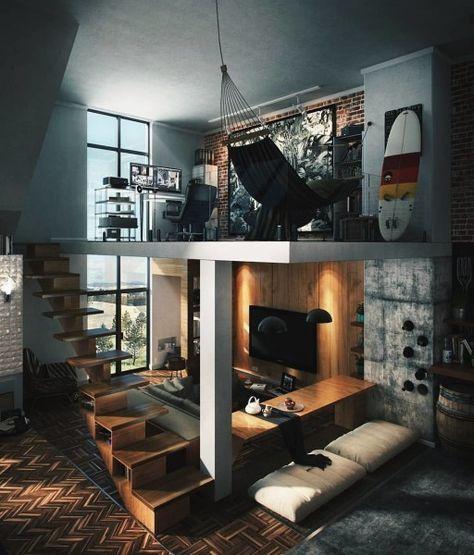 Small Space Design, Small Spaces, Loft Spaces, Living Spaces, Living Room, Small Living, Modern Living, Interior Design Career, Interior Ideas