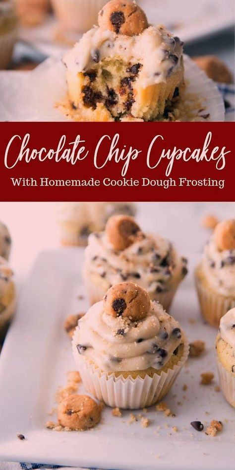 Chocolate chip cupcakes with a cookie dough frosting are going to blow your mind! Light, moist, and tasty homemade chocolate chip cupcakes. #ediblecookiedoughfrosting #cupcakes #easy #homemade #chocolatechip #vanilla #cookiedough