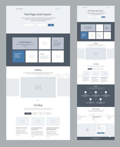 Landing Page Website Design Template For Business. One Page Wireframe. Flat Modern Responsive Design. Ux Ui Website. Stock Vector - Illustration of footer, navigation: 116520636