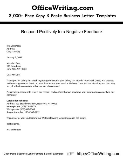Respond Positively to a Negative Feedback -- We have over 3,000 - personal recommendation letter