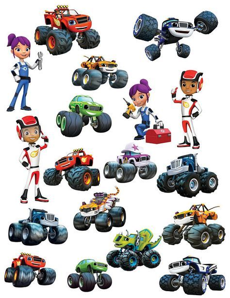 Blaze The Monster Machines Clipart Images Instant Download Cutouts Printable Centerpieces Decoration Aj Starla Stripes Crusher Pickle Zeg In 2021 Blaze And The Monster Machines Party Blaze The Monster Machine
