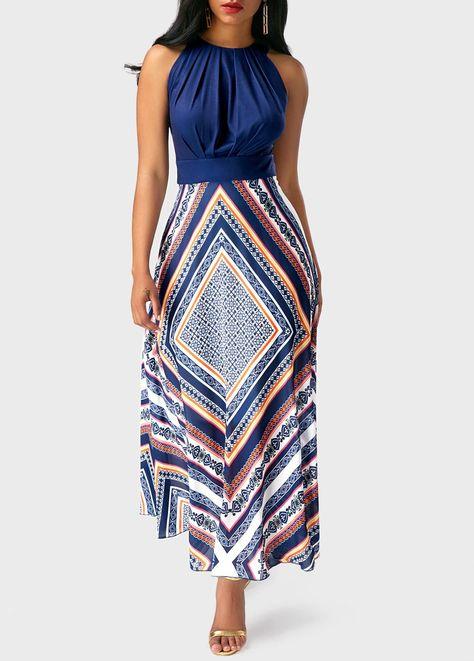 Sleeveless Band Waist Printed Maxi Dress