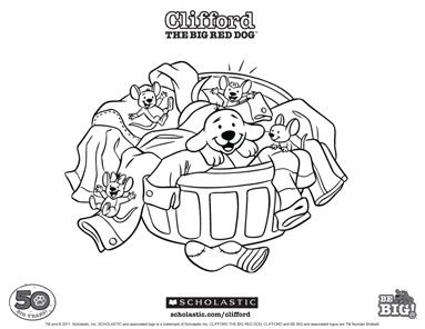 Clean up with Clifford! Keywords: coloring sheet, printable ...