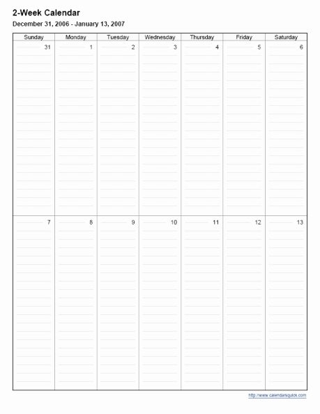 Pin On Examples Schedule Templates For Word And Excel Two weeks calendar template