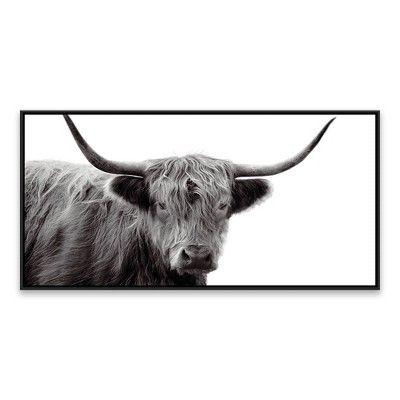 24 25 X 48 25 Highland Cow Framed Wall Canvas Black White Threshold Framed Wall Canvas Cow Canvas Wall Canvas