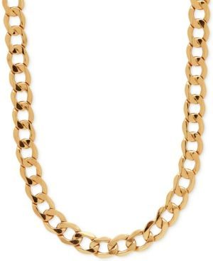 Italian Gold 22 Curb Link Chain Necklace In 10k Gold Gold Gold Chains For Men Chains For Men Chain Link Necklace
