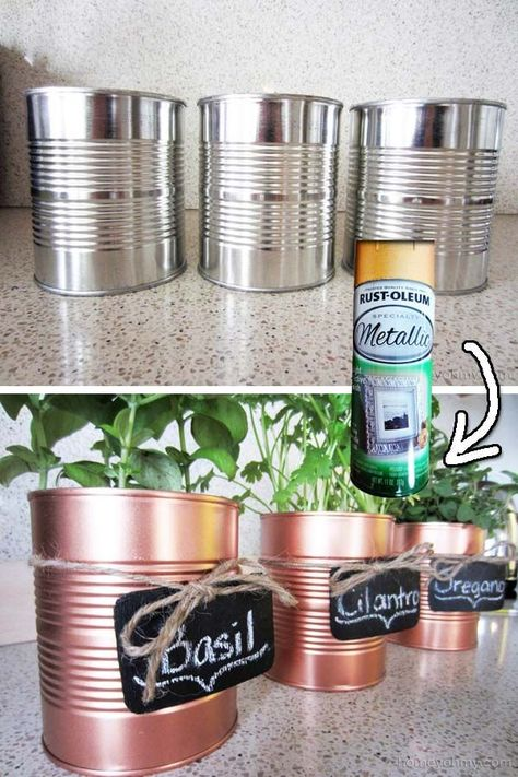 Recycle those empty tin cans to make some beatiful herb pots.   30 Low-Budget Makeovers You Could Do With Spray Paint